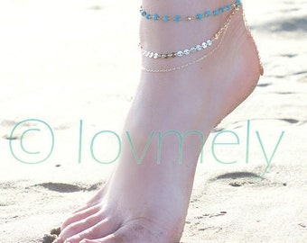 MADDIE ANKLET- triple chain anklet / foot chain / bohemian jewelry / body jewelry / anklets / TURQUOISEanklet
