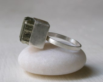 Large Pyrite Cube Ring – Natural Crystal  -  Raw Crystal Ring - Raw  Uncut – Rough - Statement Ring – One of a Kind - Sterling Silver