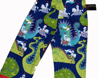ON SALE Knight in Shining Armor - Dragon Pants- Blue Pants - Fairy Tale -  Boy Pants - Blue  Pants - Toddler Pants - 3t