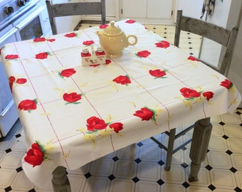 Vintage Wilendur Tablecloth Bright Red Tulips on Yellow Grid