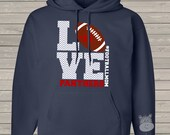 Football mom hoodie sweatshirt LOVE - great gift for birthday or Mother's Day