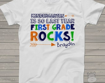 Back to school shirt - kindergarten is so last year first grade rocks tshirt - colorful personalized back to school shirt
