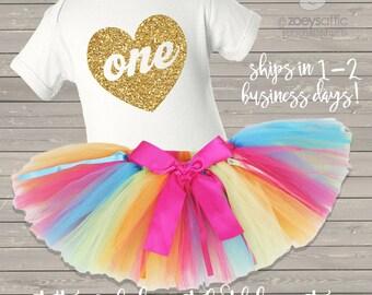 first birthday bodysuit and rainbow tutu set / first birthday outfit rainbow and glitter