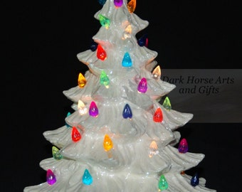 Mother Of Pearl Silver Bells Ceramic Christmas Tree 11 in