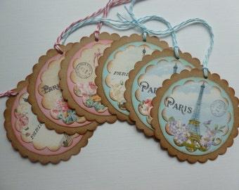 Paris gift tags party favor tags vintage style french tags eiffel tower paris postmark flowers scalloped - set of 6