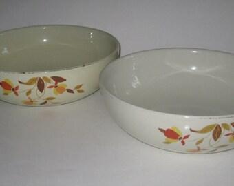 Hall's Jewel Tea Autumn Leaf Bowl Lot (2) Large Fruit Vegetable Serving Vintage