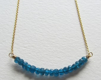 Blue Apatite Gemstone Bar Necklace with Gold Filled Chain