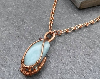 Amazonite Wire Wrapped Copper Pendant Necklace on Handmade Copper Link Chain