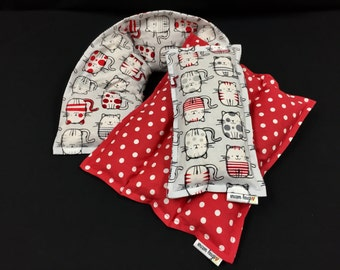 Corn Heating Pad Set, Microwave Heat Pack, Corn Bags, Pain Relief, Cat Lover Gift, Gift for Friend, Get Well Gift, Valentine Day Gift Set