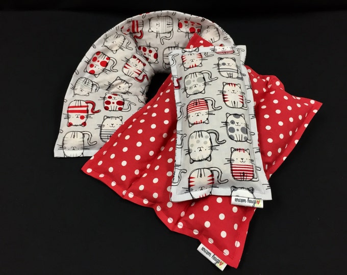 Corn Heating Pad Set, Microwave Heat Pack, Corn Bag, Pain Relief, Massage Relaxation Therapy, Cats, Gift for Friend, Get Well, Red, Gray