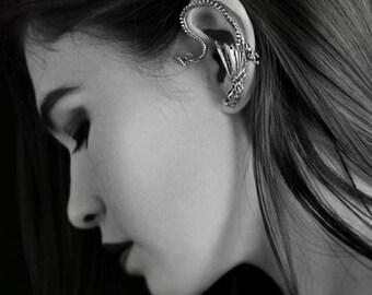 Dragon Ear Cuff Game of Thrones Inspired Dragon Ear Wrap Silver Throne Dragon Ear Wrap Dragon Jewelry Non Pierced Ear Wrap Ear Cuff