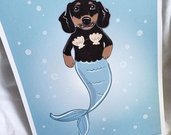 Mermaid Dachshund - Eco-Friendly 8x10 Print
