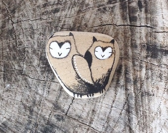 Two Beach Pottery Owls
