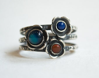 Mothers ring, Gemstones ring, sterling silver ring, stacking rings, coral, lapis, agate ring, family ring, birthstones ring - Guess R1686-4