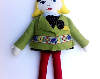 Handmade Cloth Doll, Blond Hair, Green and Red, Christmas doll, soft doll, rag doll, gifts under 50, fabric doll, gifts for girls