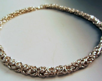 Sterling Silver Chain Maille Necklace OOAK Unique