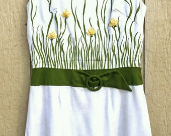 Vintage 1960s 60s Mod Yellow Rosebuds Garden Dress 1960's 60's Linen Green Grass Sheath XL
