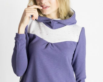Cozy up hoody in dark Lavender/ White knit panels/ Side Pockets