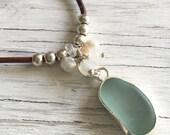 Leather Necklace Aqua Sea Glass Pendant with Semi Precious Stones and Fresh Water Pearls
