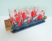 Set of 8 Vintage Drinking Glasses in a Handmade Blue Wooden Holder with Flower Decals, Red & White Apple Motif