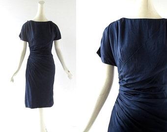 1950s Vintage Dress | Midnight Blue Silk Dress | 50s Dress | Edith Small | XXS XS