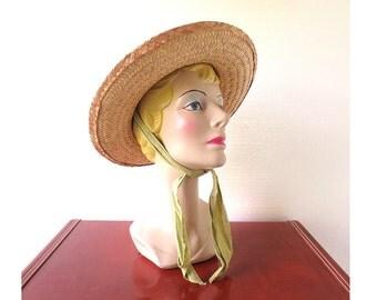 1940s Straw Hat / 40s Hat / Sun Hat