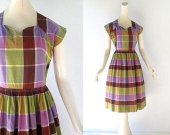 Plaid 1950s Dress | Wine Harvest | 50s Dress | XS