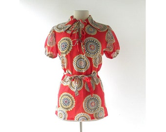 Vintage 60s Blouse | Sunburst Mandala | Tunic Top | Medium M