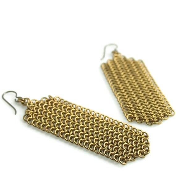 Custom Hand Woven Bronze Mesh Panel Earrings