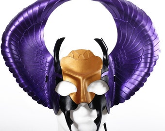 Leather mask, halloween mask, Egyptian scarab mask, fantasy mask, pagan mask, masquerade, ra mask, egyptian mask, Mardi Gras, Ankh, Anubis