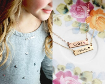 Child's Birthstone Name Necklace - Flower Girl Gift Child's Nameplate Birthstone Necklace Silver Rose Gold Necklace Personalized Gift