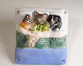 Chipmunk, Kitten, Puppy - Animal Babies Easter Ornament - Handmade Ornament - Unique Original Miniature Sculpture