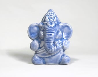 Blue Ganesh Elephant God New Miniature Ganesha Hindu Porcelain Totem Figurine Fok Art Sculpture Spiritual Gifts