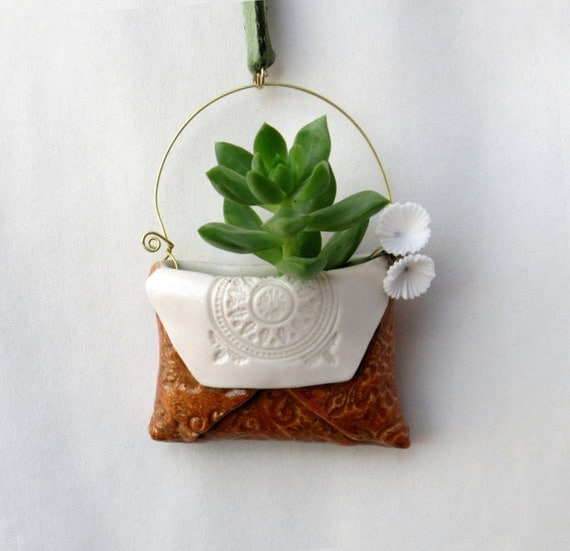 Ceramic Rustic Hanging Pocket Vase - Tiny Porcelain Planter for Air Plant