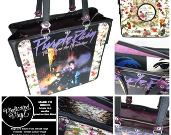 Prince Purple Rain Handbag Vintage Vinyl Record Repurpose