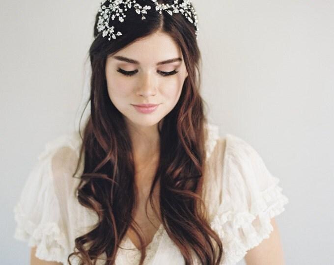 Bridal Headband, Starburst Hair Piece, Bridal Hair Piece, Silver Gilded Hair Band, Swarovski Crystal, Hair Jewelry, Bridal Accessory, 1604