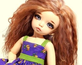 """Size 6 - 6-1/2"""" BJD Wig Mohair Fur 1/6 Tibetan Lamb Doll Fairyland Littlefee YOSD ooak Warm Golden Blond Brown"""