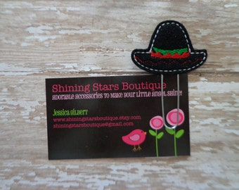 Paper Clips - Black, Red, And Green Sombrero Hat Felt Paper Clip Or Bookmark Accessory - Cinco de Mayo Holiday Paperclip
