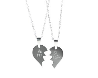 Split Heart Necklace - Best Friend Necklace - Partners in Crime Necklace - BFF Necklace - Friendship Necklace - Engraved Necklace