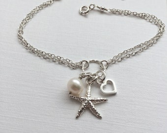 Starfish Bracelet in Sterling Silver - Adjustable Starfish Bracelet