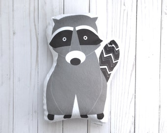 Raccoon Animal Pillow, Forest Animal Cushion, Plush Baby Toy, Woodland Baby Shower, Big Girl Room, Toddler Room Decor, Chevron Pillow