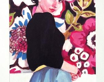 Rimma 3- Big print - Folk art print - flowers / blue/ red/ white/ girl print / woman drawing print  Portrait drawing - ART PRINT size A3