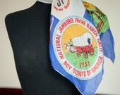 Vintage 1950s Scarf - Rare 1953 Boy Scouts of America National Jamboree California State Silk Souvenir Scarf