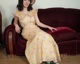 Vintage 1930s Dress - Terrific Floral Print Yellow and Purple Organza Garden Party 30s Gown with Dramatic Collar
