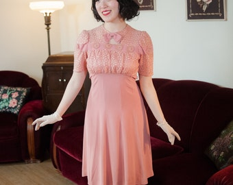 Vintage 1930s Dress - Ideal Pink Rayon Crepe Late 30s Day Dress with Gathered Lace Bodice, Puffed Sleeves and Gored Skirt