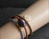 Etched Brass Charm Beaded Wrap Bracelet Set - Golden Olive, Red Sienna, Light Blue, Dark Nebula Glass, Boho Aria Jewelry