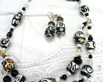 Black and white tribal beaded necklace
