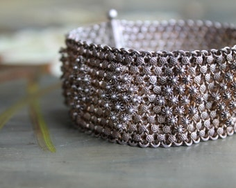 Silver Boho Mesh Cuff Bracelet, Diamond Pattern Cuff, Silver Tribal Bracelet, Pin Closure