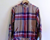 PREVIOUSLY 28.00 - Vintage 70s Plaid Lightweight Shirt Jacket - Size M/L