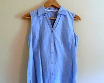 Vintage Chambray Button Up Sleeveless Blouse - Size S